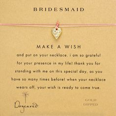 sweet note, bridesmaid will you, bridal gifts, necklac