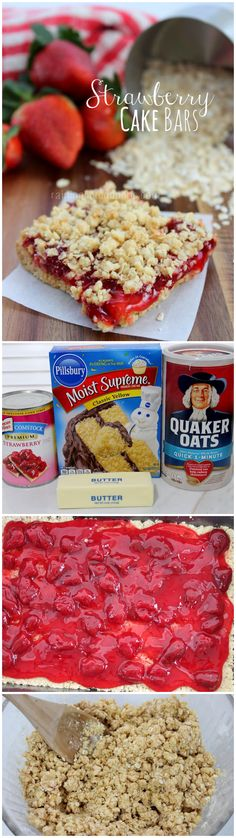 strawberry cake bars