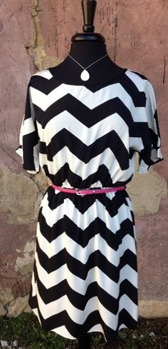 Black and White Chevhron Dress w Belt