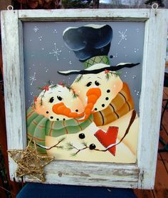Decorative painting projects on pinterest painted glass for How to paint snowmen