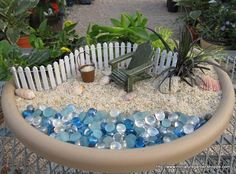 Beach garden with blue glass beads for the water sandy beaches, garden ideas, miniature gardens, at the beach, fairi, beach vacations, mini gardens, beach themes, beach scenes