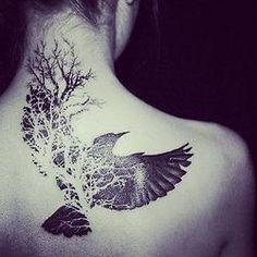 BW, inked, back tattoo, tattooed, crow, wings,  tree.