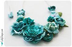 . craft, bow flower, blue flowers, colors, bib necklaces, diy, jewelri, design, blue roses