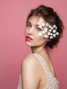 Designer Modern Veil  Bridal Headpiece Elegant and Chic Bridal Floral Veil - Headpiece Made to order