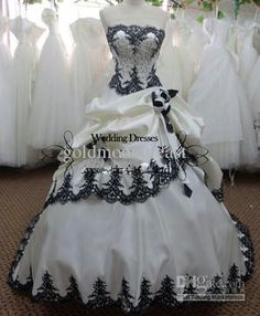Black and white silver wedding dress. Great dress for masquerade party!