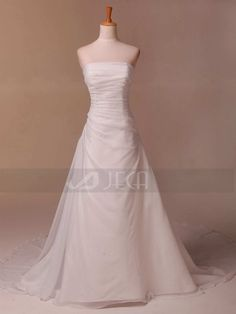 A-line Strapless Beaded Chiffon Wedding Gown Available in Plus Sizes on Etsy, $199.95