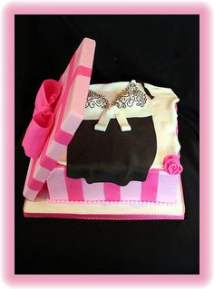 box cake, bachelorette parties, lingeri box, victoria secret, party cakes, box bridal, lingerie shower cakes, bridal showers, bridal shower cakes