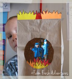 Farm Fresh Adventures: A Fiery Craft    A fiery furnace and men for the story of Shadrach, Meshach and Abednego from the Bible. sunday school, bibl craft, church, bible lessons, farms, children, fieri furnac, bibl class, crafts