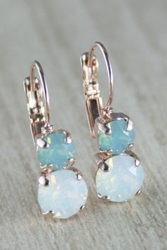 Aqua mint white opal earring Rose gold