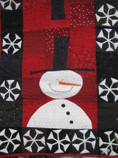 """January Snowmen"" by Kyle Redente.  A table runner from the pattern ""Calendar Table Runners"" by Kim Schaefer."
