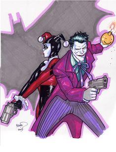 Joker and Harley sketch by Paul Renaud