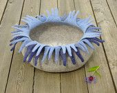 Cat bed/cat house/cat cave/ edelweiss felted cat bed. $77.00, via Etsy.