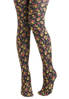 Cultivate Colorful Tights by Look From London - Floral, Sheer, Multi