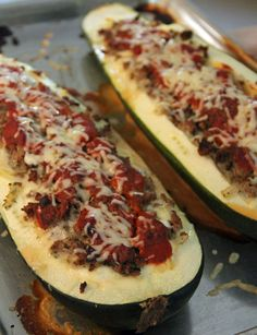 Lasagna Stuffed Zucchini - use ground turkey, lowfat cheeses and this is a healthy and hearty meal