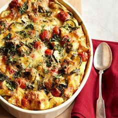 Tomato-Zucchini Strata: Swiss cheese, tomatoes, tender zucchini and herbs flavor this rich make-ahead breakfast bake.  More breakfast and brunch recipes: http://www.midwestliving.com/food/breakfast/favorite-breakfast-brunch-recipes/