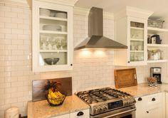 stove, subway tile, hood set
