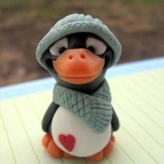penguin, polym clay, christma cake