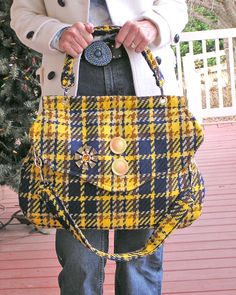 Plaid Vixen  A Large Woolen Purse in a Bold by BARBARAPAIGEKNITS, $110.00