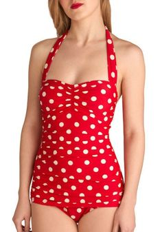 Beach Blanket Bingo One Piece in Red | Mod Retro Vintage Bathing Suits | ModCloth.com - StyleSays