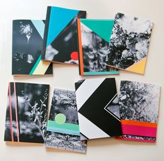 LOVE THESE.    Any Notebook, A5 sized, geometric shapes and black and white photo cover, perfect bound.
