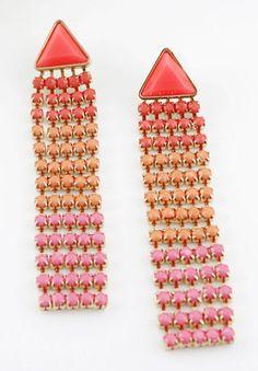 Red Pink Orange Gemstone Gold Tassel Earrings pictures