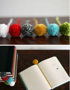 Cute little Pom Pom Bookmarks, tutorial by Designmom.