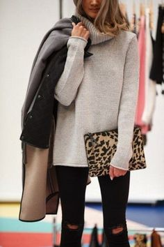 big sweaters with leopard