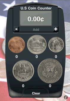 Coin Counting Calculator ($0.99) uses realistic coin buttons for the penny, nickel, dime, quarter, and half dollar. Has a display with the cent sign (¢), dollar sign ($), and 2-digit decimals. When the coin buttons are pushed, they add their money value to the amount at the top of the screen based upon the number of times they're pushed. The count for each coin is updated underneath each coin image.