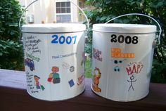 Vacation buckets... each child gets one to decorate before the trip and uses it to hold all of their vacation treasures!! I love this idea.