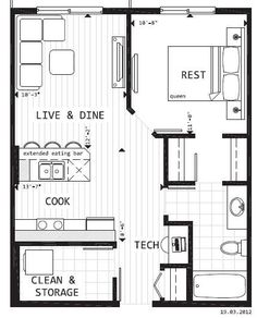 good storage/closets, nice complete kitchen, 20 x 25' or 500 sq ft.