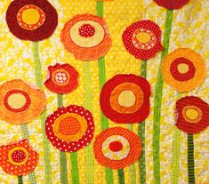 poppy quilt baby/ wall art quilt ''Poppies by moonspiritstudios. $185.00, via Etsy.