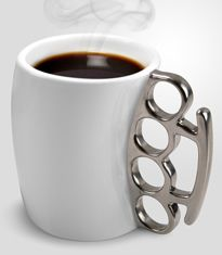 Fisticup Brass Knuckle Mug: Knockout coffee.