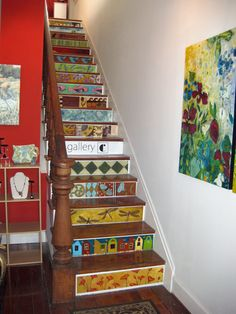 decor, basement remodel, paint stair, color stair, basement stairs, stair risers painted, hous, decoupage stairs, painted stairs