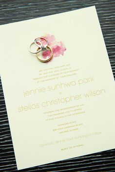 Pink Watercolor flower invitation.  Germania Place Wedding. Kenny Kim Photography. Sweetchic Events.