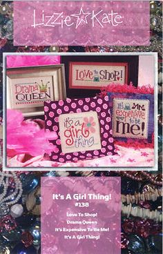 Lizzie Kate It's a Girl Thing 138 Counted Cross by DebiCreations, $7.99