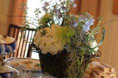 Gingerlilyevents.com Baby Boy Shower Flower Arrangement, Blue Hydrangeas, Stock, Greenery, White Hydrangeas, Fishing Theme