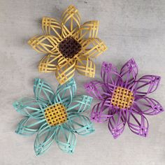 Woven daisy Gerber daisy turquoise flower basketry by Baskauta27