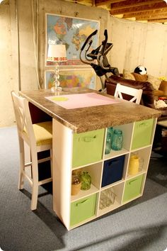 DIY craft table using cube storage and a counter top