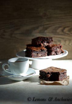 Espresso Bourbon Brownies with Toblerone Chunks