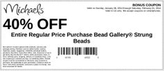 Michaels: 40% off Bead Printable Coupon