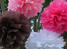 Baby Shower Decorations... IT'S A GIRL ..8 Hanging Tissue  Poms Plus 3 Free Flowers. $27.00, via Etsy.