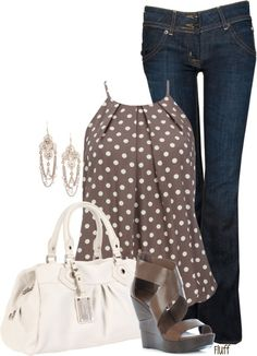 woman fashion, polka dots, casual summer, closet, work outfits, casual outfits, shoe, bags, shirt