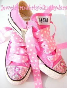 BREAST CANCER AWARENESS Adult Teen Swarovski Crystal Converse Bling Pink Low Sneakers. $189.99, via Etsy.