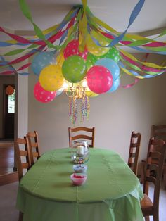 Birthday Party Decoration - Polka Dot Balloons, Crepe Paper Streamers and Curling Ribbons hanging from the dining room chandelier!!!