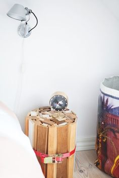 You could Diy this bedside table. Found on My scandinavian home: The home of a Danish artist / architect