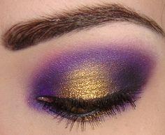 A pop of metallic gold on matte purple eyeshadow - must try!