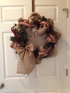 christmas wreaths, christma wreath, burlap wreaths, burlap christmas, countri christma, ribbon, country christmas, countri wreath, beauti wreath