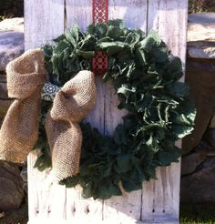 green burlap wreath