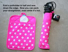 Make a travel flat iron (straightener) out of a pot holder.