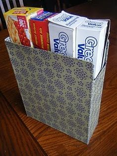 Magazine or Kitchen Wrap Organizer from a Cereal Box
